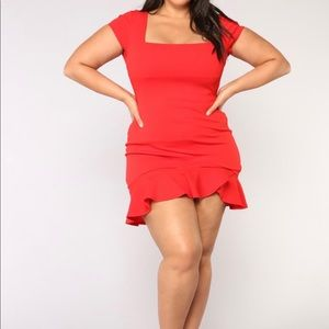 NWT Fashion Nova Coral Red Keep Me Mini Dress 1X